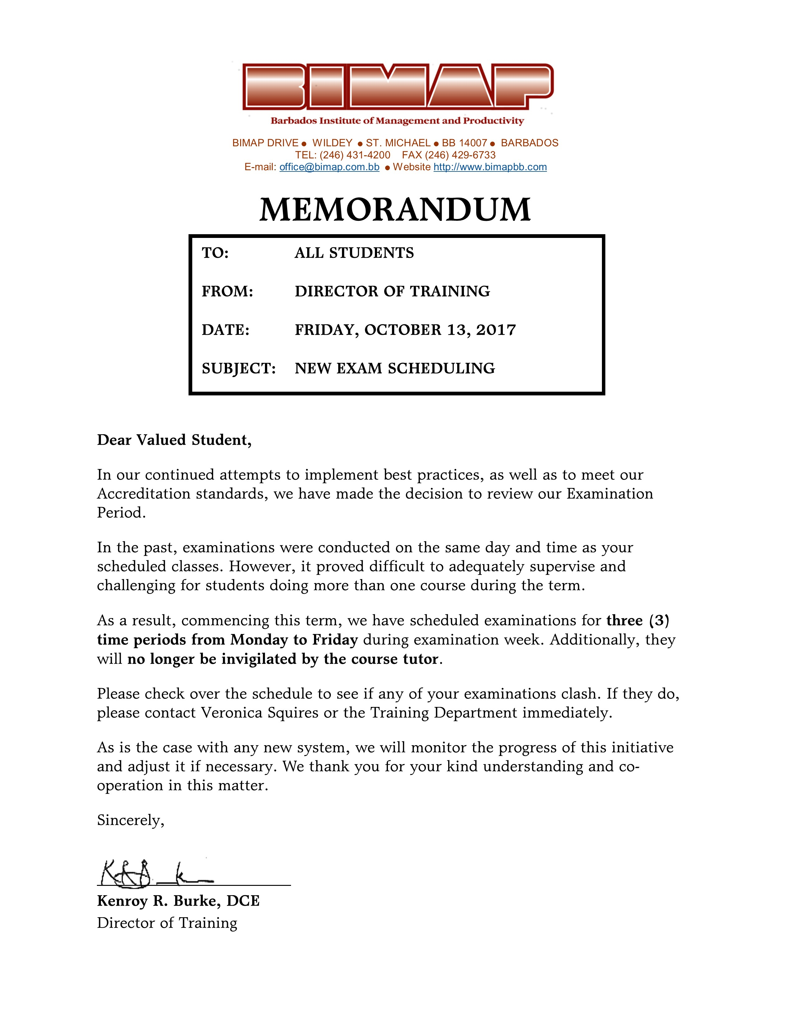 Letter to Students concerning Term 3 2017 Exam Schedule